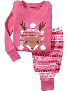 Old Navy Deer Graphic PJ Sets For Baby - In the pink #holidaygiftguide