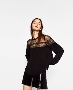 Image 2 of CONTRAST LACE TOP from Zara