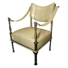 Incroyable Bronze And Leather Armchair By Andre Arbus