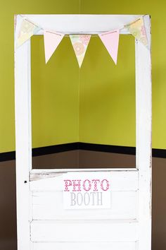 Found this old door for $1 at a garage sale.. added a banner and it was perfect for a photo booth