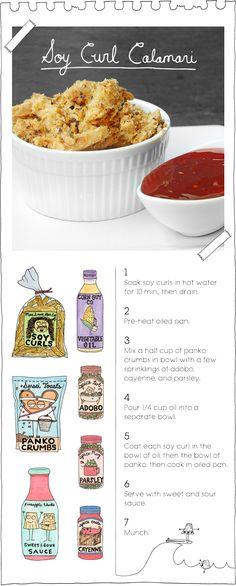 The Vegan Stoner: Soy Curl Calamari recipe Vegan Appetizers, Vegan Snacks, Vegan Dinners, Vegan Foods, Delicious Vegan Recipes, Vegetarian Recipes, Pescatarian Recipes, Yummy Food, Veggie Recipes