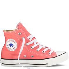 Never been, but we imagine Rio carnival to be all about dancing, partying and chasing boys down secret side streets. Pfft, no need to go to Brazil, you can do all the above in the carnival pink All Star Hi Chucks from Converse. Converse All Star, Converse Rose, Converse Chuck Taylor, Cute Converse, Outfits With Converse, Converse Sneakers, Hightop Shoes, Pink Sneakers, Canvas Sneakers