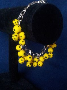 Yellow and Black Polka Dot Bracelet