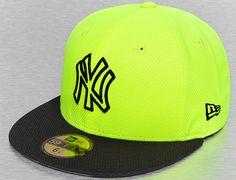 Custom New York Yankees Diamond Era Basic Volt-Black 59Fifty Fitted Baseball Cap by NEW ERA x MLB