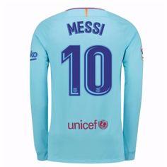 b2441ce5c392ef Barcelona Lionel Messi 10 Udebanetrøje 17-18 Lange ærmer  Billige   Fodboldtrøjer Leonel Messi