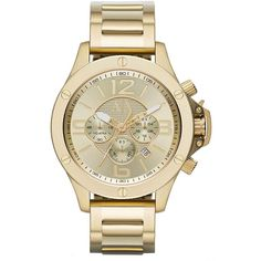 Armani Exchange Mens Goldtone Stainless Steel Chronograph Watch ($250) ❤ liked on Polyvore featuring men's fashion, men's jewelry, men's watches, gold, mens stainless steel watches, mens watches, mens bracelet watch, mens watches jewelry and large dial mens watches