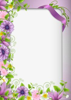 purple flowers border Free PNG