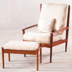 Sofas & Sessel - Vintage Dänischer Grete Jalk Sessel mit Ottomane - ein Designerstück von LadyRenee bei DaWanda