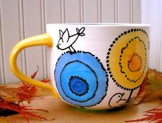 Your place to buy and sell all things handmade Coffee Cups, Tea Cups, Cappuccino Coffee, Pottery Painting, Painted Pottery, Painted Coffee Mugs, Paint Your Own Pottery, Wheel Thrown Pottery, Rainbow Flowers