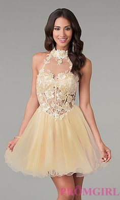 Short Lace High Neck Dress by Dave and Johnny at PromGirl.com