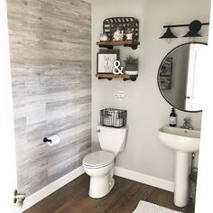 Remodel farmhouse 🚽 Potty break anyone? Who else loves this modern farmhouse style bathroom bel. 🚽 Potty break anyone? Who else loves this modern farmhouse style bathroom belonging to 🖤 We love how she implemented our Tobacco Baskets! Bathroom Renos, Bathroom Renovations, Remodel Bathroom, Bathroom Cabinets, Bathroom Makeovers, Dyi Bathroom, Simple Bathroom, Half Bathroom Decor, Tub Remodel