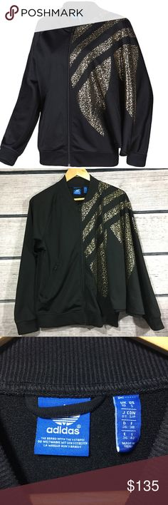 "ADIDAS Star Trefoil Track Jacket Gold Black Rare ADIDAS Star Trefoil Track Jacket In women's size small. Draped left arm. In excellent used condition.  Measurements (approximate): Pit to pit: 20"" Length: 28"" adidas Jackets & Coats"