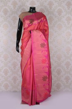 #Peach & #gold kanchipuram silk #stunning saree with shocking #pink multicoloured border -SR11607