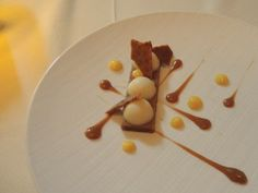 play on devils on horseback with Bleu des Basques panna cotta, date cake, bourbon toffee, mango pudding and bacon brittle.  Carillon - Austin