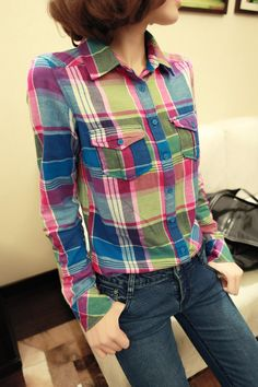 Europe and the United States 2012 new wind qiu dong joker bright color grid thick paragraph long sleeve blouse show thin shirt women cultivate one's morality