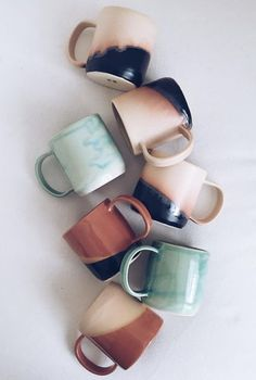 Arrow + Sage // mugs! For hot chocolate tea or coffee Coffee Shop, Coffee Cups, Tea Cups, Kitchenware, Tableware, Painted Mugs, Cute Mugs, Pretty Mugs, Ceramic Pottery
