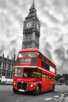 Tableau Déco Toile - London Bus Rouge en face de Big Ben en Noir et Blanc