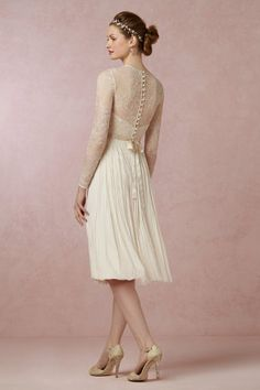 Waterfall Dress from BHLDN - It's all about the back with this dress. Perfect for a quickie wedding or a reception.