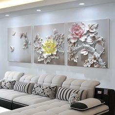 Mural Wall Art, Wall Art Decor, Living Room Sofa, Living Room Decor, Diy Home Crafts, Home Decor Furniture, Bedroom Wall, Three Dimensional, Peonies