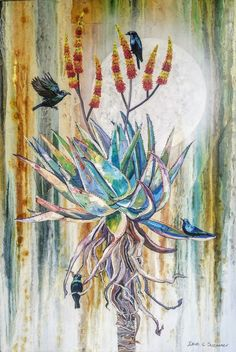 Aloe with Glossy Starlings. Oil on Canvas. Starling, Aloe, Oil On Canvas, Collaboration, Painting, Painted Canvas, Painting Art, Paintings, Paint