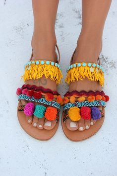 """Items similar to Pom pom Sandals, Women sandals, Decorated sandals, Handmade to order women flats """"Dominicana"""" on Etsy Ribbon Sandals, Pom Pom Sandals, Fringe Sandals, Bohemian Shoes, Leather Sandals Flat, Flat Sandals, Strappy Sandals, Gladiator Sandals, Moda Boho"""