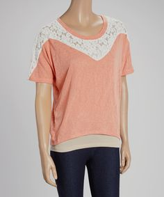 Take+a+look+at+the+Coral+&+White+Lace+Cape-Sleeve+Top+on+#zulily+today!