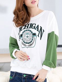 Letter Printed Patchwork O-Neck Leisure T Shirt Cute T Shirts on buytrends.com