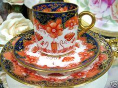 Worcester Cup and Saucer Trio Cobalt Imari 1880-1890's