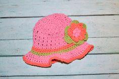 newborn girl sun hat by SweetBabiesinYarn on Etsy, $20.00