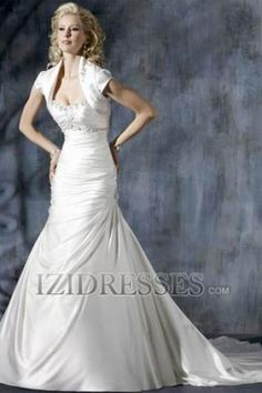 A-Line Empire Strapless Elastic Woven Satin A-Line Wedding Dresses