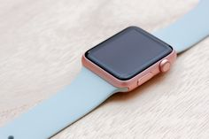 Apple Watch Sport Rose Gold Case with Turquoise Sport Band.