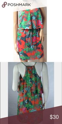 Bar iii tropical print layer dress So complimenting on. Even better in person. The colors are so vibrant and beautiful. Dresses Midi