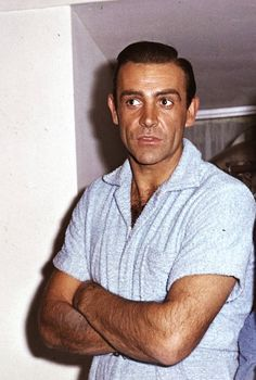 sean connery on the set of 'goldfinger', 1964.