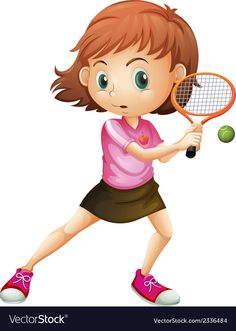 A young girl playing tennis vector image on VectorStock Math For Kids, Activities For Kids, Tennis Drawing, Cartoon People, Teaching Aids, Kids Sports, French Language, Children's Book Illustration, Life Skills