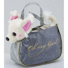 Chihuahua in de tas knuffel