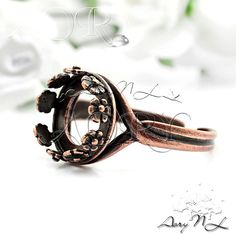 1pcs Anique Color Copper Plated Brass Flower Crown Bezel by AoryNL