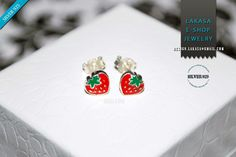 Juicy Strawberry Red Green Enamel Jewelry Stud Earrings Sterling Silver Girl School Kids Collection Moda Fun Color Fruit Cool Best Gift idea #strawberry #earrings #jewelry #enamel #red #joyas #kids #collection #children #school #moda #silver #jewellery #bestideasgifts #birthdaygifts #birthday #παιδι #κοριτσι #παιδικο #κοσμημα #setkids #φραουλα #φρουτα #σμαλτο #κοκκινο #πρασινο #φραουλιτσα #σκουλαρικια Kids Collection, Jewelry Collection, Sterling Silver Earrings Studs, Stud Earrings, Enamel Jewelry, Baby Accessories, Jewelry Shop, Red Green, New Baby Products