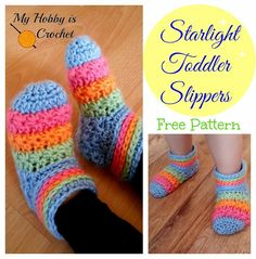 My Hobby Is Crochet: Starlight Toddler Slippers - Free Crochet Pattern with Tutorial