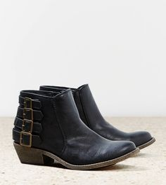 Low heeled black ankle boots. AEO Buckle Bootie | American Eagle Outfitters
