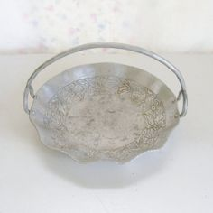 Vintage hammered aluminum basket tidbit tray embossed with flowers by trendybindi, $15.00