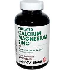 American Health, Chelated Calcium Magnesium Zinc, 250 Tablets