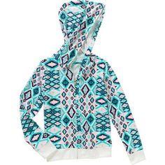 One Step Up Girls' hood Happy Brushed Printed Hooded Jacket, Size: 5/6, White