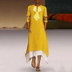 Floral Tunic V-Neckline Midi Shift Dress - Yellow / S Half Sleeve Dresses, Long Sleeve Maxi, Maxi Dress With Sleeves, Half Sleeves, Types Of Sleeves, Shift Dresses, Day Dresses, Casual Dresses, Vacation Dresses