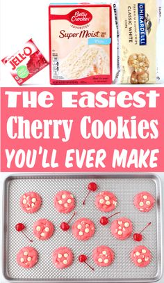 Cake Mix Cookies Recipes - White Chocolate Chip Cherry Cookie!  With just 5 ingredients, this is one of the EASIEST treats you'll ever make!  Plus... they taste amazing!!  Go grab the recipe and give them a try this week! Cake Mix Cookie Recipes, Cake Mix Cookies, Best Cookie Recipes, Cookie Desserts, Yummy Cookies, Popular Recipes, Fun Desserts, Yummy Recipes, Delicious Desserts