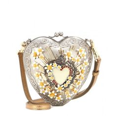 Dolce & Gabbana Sacred Heart Embellished Shoulder Bag (€6.545) ❤ liked on Polyvore featuring bags, handbags, shoulder bags, purses, clutches, silver, silver shoulder bag, embellished handbags, silver purse and white purse