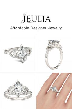 #Jeulia JEULIA Luxurious Engagement Ring Marquise Cut Created White Sapp. Discover more stunning Classic Rings from Jeulia.com. Shop Now!