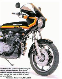 The legendary Kawasaki the world's first turbo motorcycle - and a bike with a reputation for a nasty, brutish and short life. Kawasaki Motorcycles, Triumph Motorcycles, Custom Motorcycles, Custom Bikes, Motorcycle Posters, Motorcycle Bike, Motorcycle Quotes, Kawasaki Classic, Kawasaki Heavy Industries
