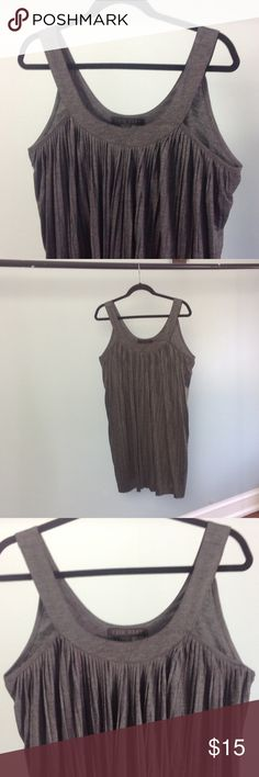 """Erik Hart Dark Gray Jersey Tunic/Dress Knit sleeveless tunic/dress in gray. Mini-pleats in the front. Flattering and carefree, the piece looks great over leggings or as a cute throw-on little dress for walking around. Length hits at approximately 4"""" above my knee. Dresses Mini"""