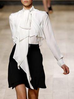 beautiful pussy bow blouse & black swing skirt  perfect mono-chrome