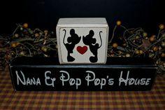 Mickey and Minnie Mouse Nana & Pop Pop's House Grandma Grandpa Nana Papa gift distressed rustic wood blocks sign by PrimitiveHodgePodge